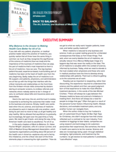 Back to Balance Executive Summary
